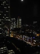 panoramic view of the architecture of night frankfurt