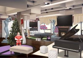 the decor interior design of a living room with Christmas decorations