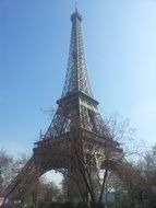Eiffel tower, trees, sky