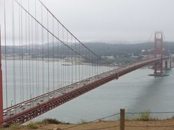 View of the Suspension Bridge the Golden Gate in San Francisco