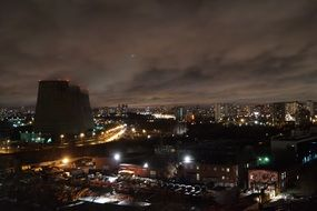 industrial district of moscow at night