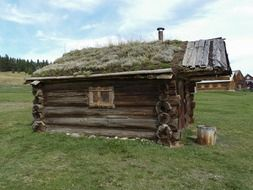 hut with grass roof in Canada