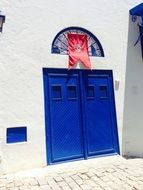 Blue door at the entrance