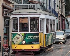 small tram in the old town in Lisbon, Portugal