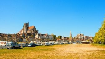 Panorama of burgundy auxerre city