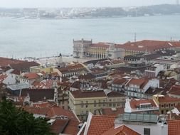 Panorama of Lisbon from a bird's flight, Portugal
