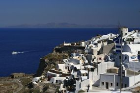 low-rise white houses in Santorini