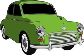 green small car as a graphic image