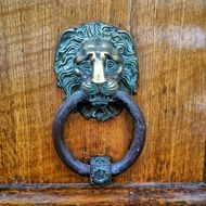 lion knocker door bronze patina