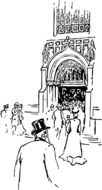 Illustration of people are entering to cathedral