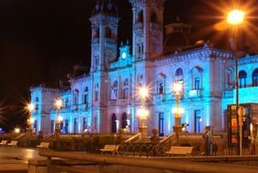 architecture of the city hall of San Sebastian at night