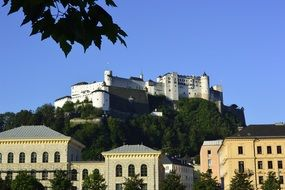 Hohensalzburg fortress against the backdrop of the cityscape of Salzburg