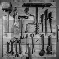 Black and white photo of the tools