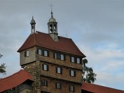 tall castle tower with a tiled roof