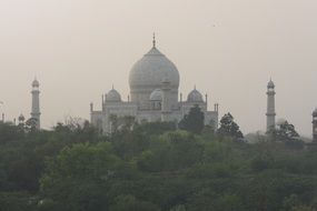 a view on the monument Taj Mahal in Agra, India