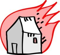Clipart of burning house