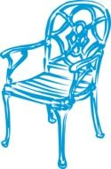 Blue elegant chair clipart
