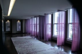 the mysterious room with transparent purple curtains