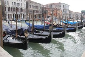 Gondolas parking in Venice Italy