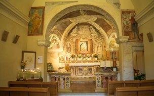 View of the altar in the church, italy