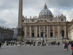 people on square at saint peter's basilica, italy, rome, vatican