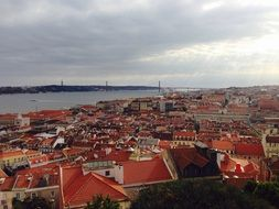 panorama of lisbon on a cloudy day