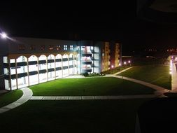 illuminated school at night