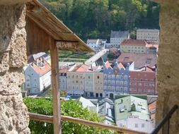 view from the castle walls on Burghausen