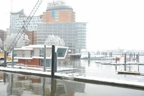 panorama of the port in hamburg in winter