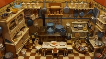 kitchen in an old dollhouse