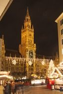 Neo Gothic town hall in night Munich