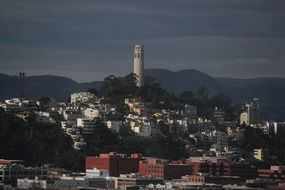 coit tower san francisco in the evening