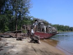 wrecked ship on shore in india