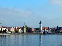 City view of Lindau on the shore of the lake