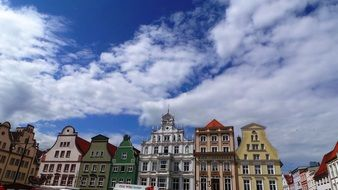 colorful facades of old buildings on marketplace, germany, rostock