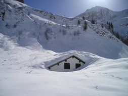 house in snowdrifts