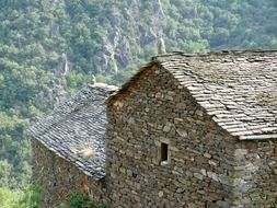 Old houses made of stone in village