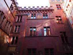 Basel Town Hall with red walls