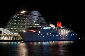 a huge cruise ship goes on the night sea, Japan