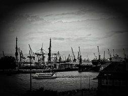 ships in port on elbe river, germany, hamburg