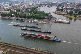 cargo merchant ships on the river Rhine, Germany