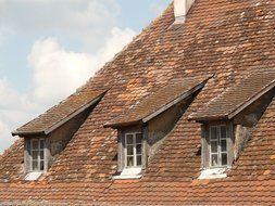 brown tile roof with windows