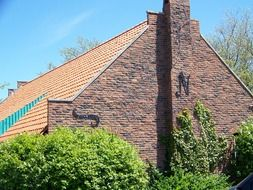 dutch house, brick building with tile roof, netherlands