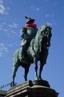 equestrian statue with red scarf in Malmo