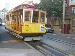 yellow tram in san francisco