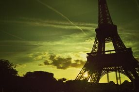 Eiffel Tower at sunset background