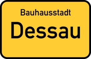 yellow road sign dessau