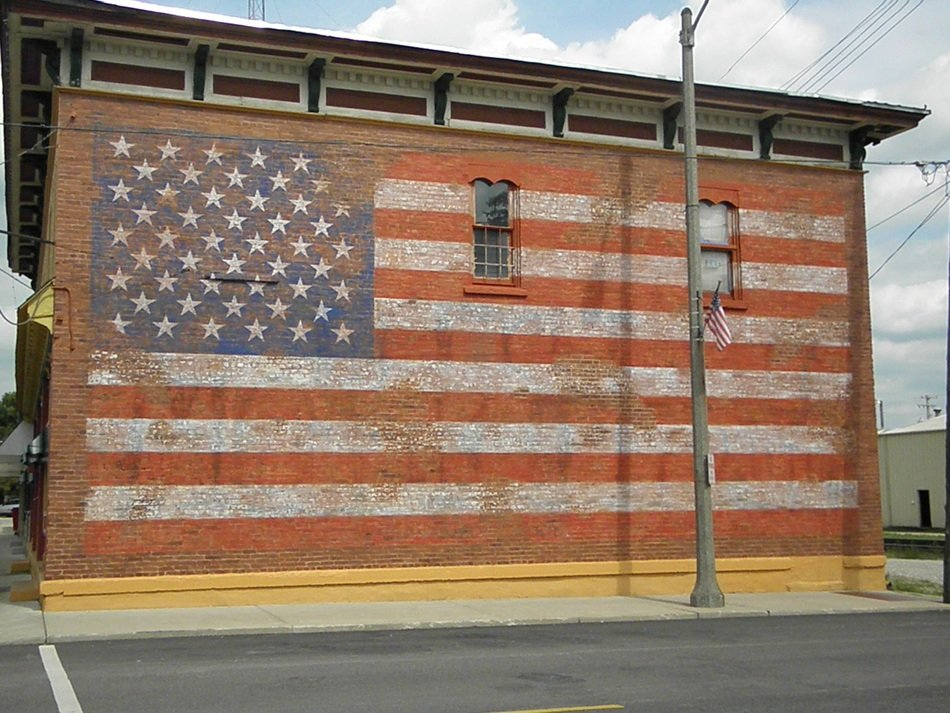 american flag drawing on a wall