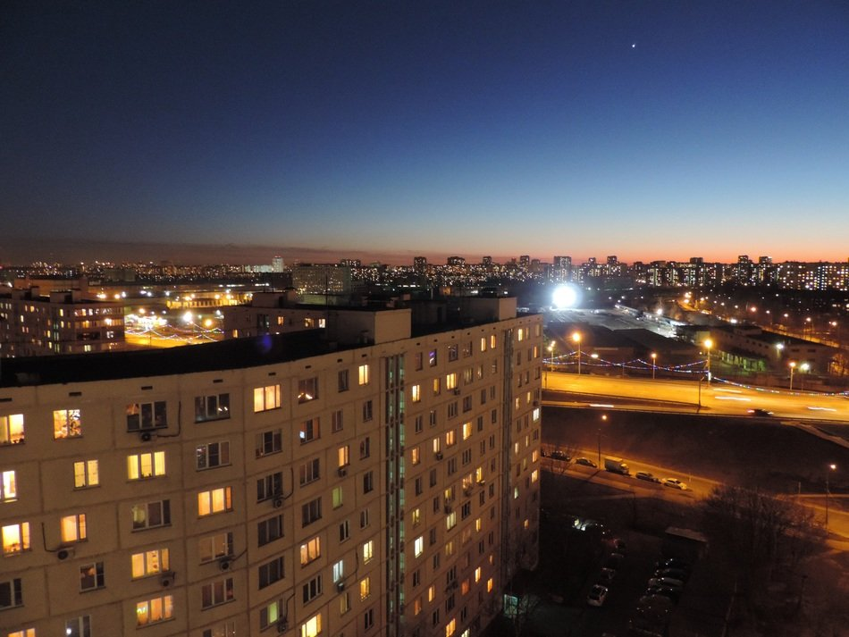 Night photography of moscow