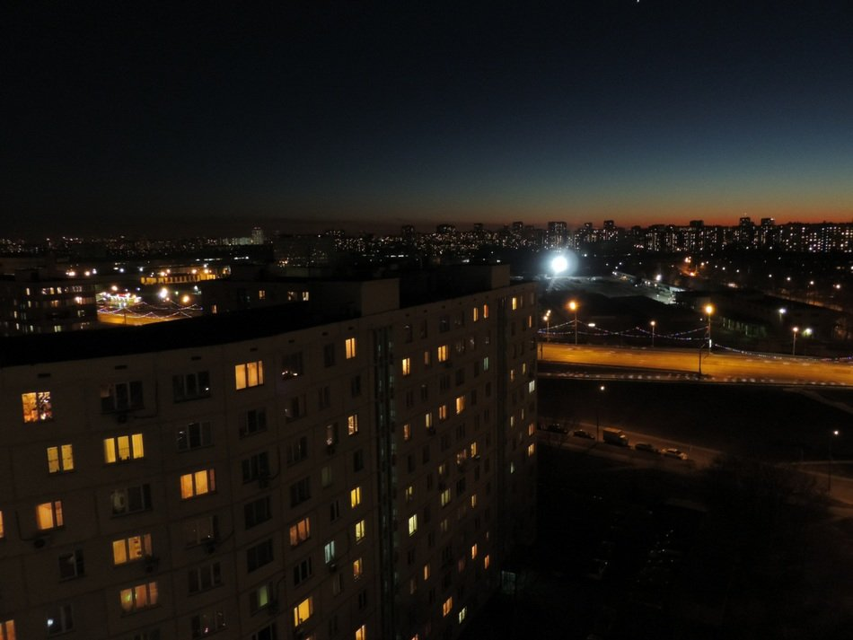 view of night Moscow